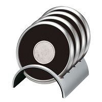 Coasters   Round Stainless/Polymeric Rubber Coaster Set